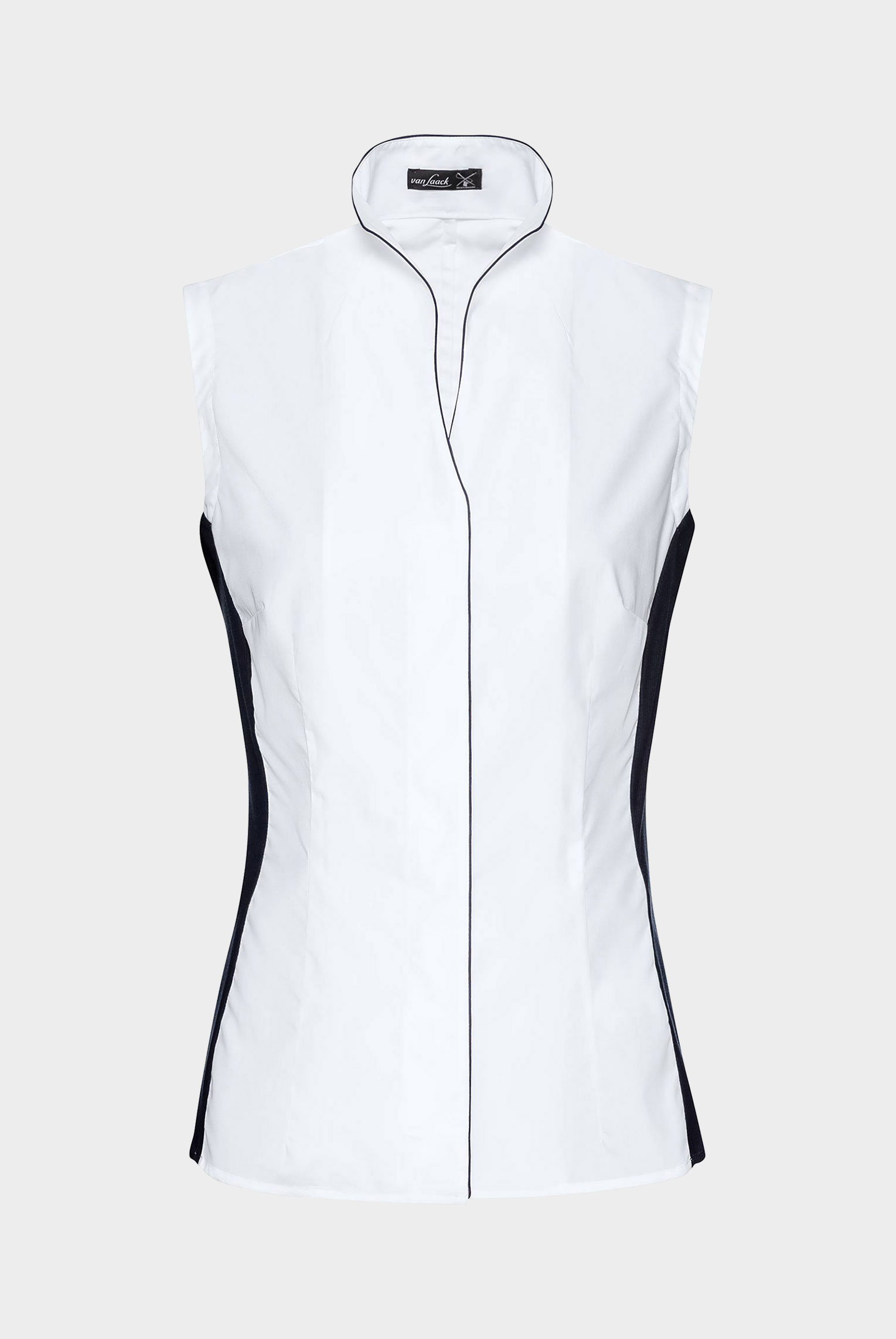 Meisterwerk Blouses+Myri-FPB - Sleeveless chalice collar Hybrid Shirt with contrast jersey inserts+05.518C.R4.160049.007.38
