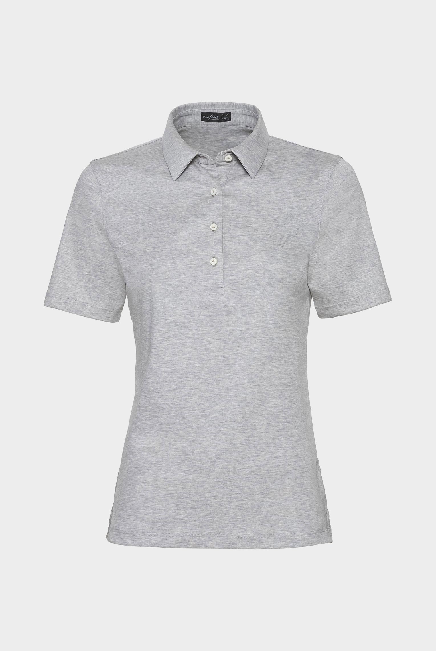 Neuheiten+Klassisches Damen Polo aus Jersey  Modern Fit Grau+05.600L..180031.030.38