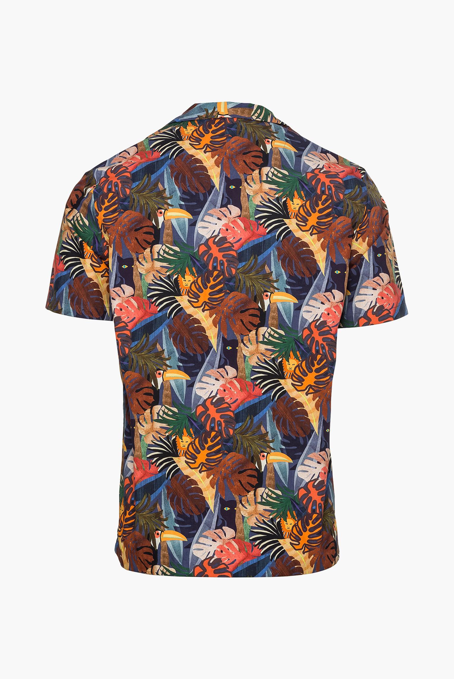 Casual Hemden+Kurzarm Hemd mit Dschungel Druck Slim Fit Bunt+35.3838.RD.171419.570.38