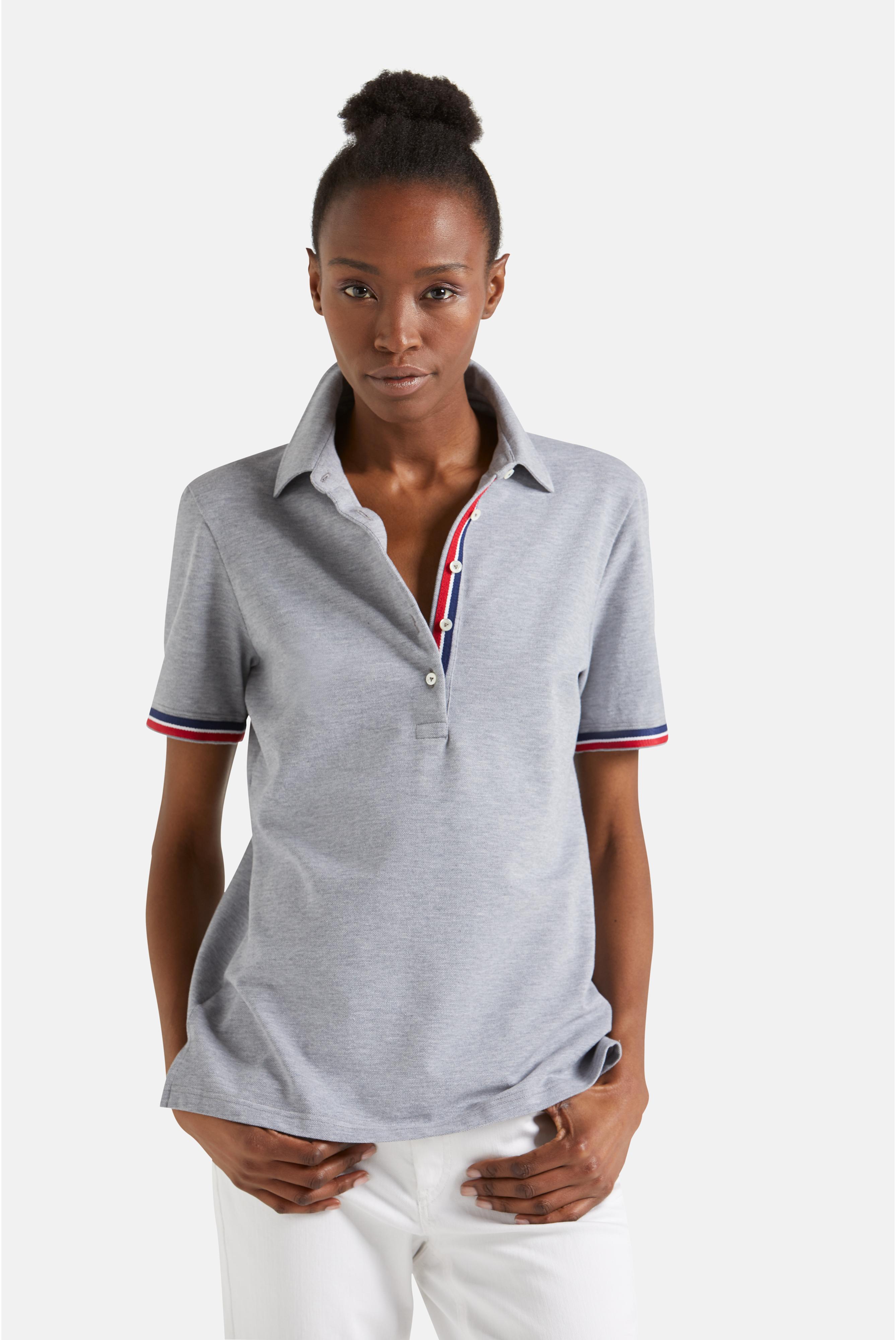 Poloshirts+Klassisches Herren Poloshirt aus Baumwolle Tailor Fit Grau+05.2523.M9.188070.035.46