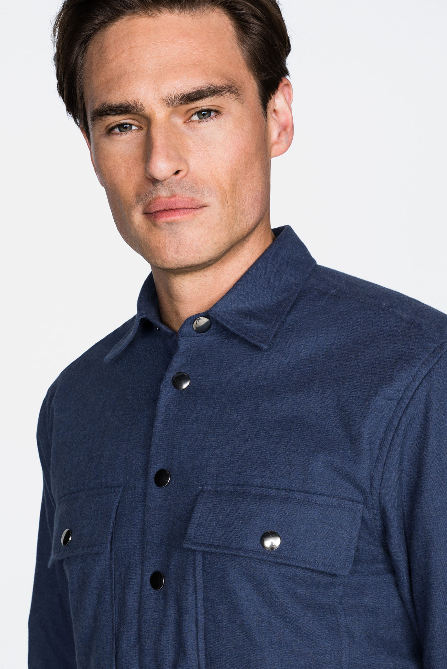 Casual Hemden+Gefüttertes  Flanellhemd mit großen Knöpfen aus Baumwolle Tailor Fit Blau+35.3931.NY.155161.780.37